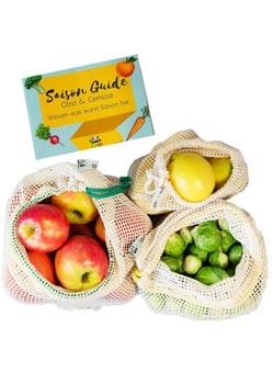 Plastikfrei Einkaufen ohne Plastik Gemüsenetz Einkaufsnetz wiederverwendbare Obst und Gemüsebeutel EcoYou