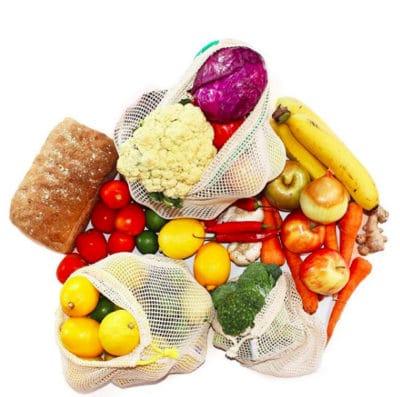 Gemüsenetz aus Baumwolle EcoYou Obstnetz Zero Waste Küche plastikfrei einkaufen online ohne Plastik Leben