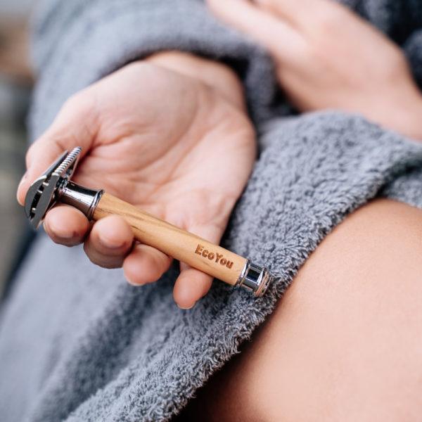 Nachhaltige Geschenke Rasierhobel Frauen Holz Bambus Damen Umweltfreundlich EcoYou Plastikfrei Leben ohne Plastik Nachhaltigkeit Tipps