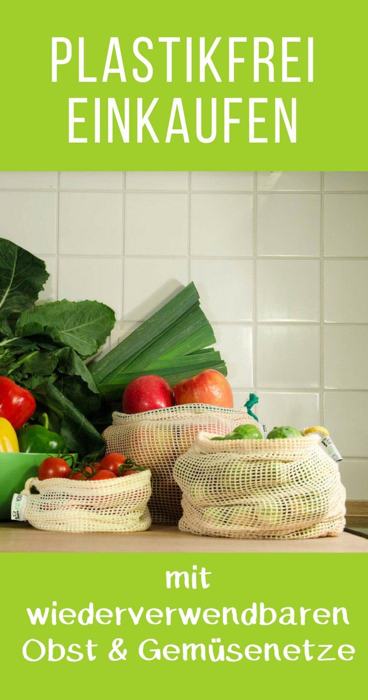 Plastikfrei Einkaufen mit wiederverwendbaren Obst und Gemüsenetzen aus Baumwolle zum Einkauf ohne Plastik Leben ohne Plastik EcoYou