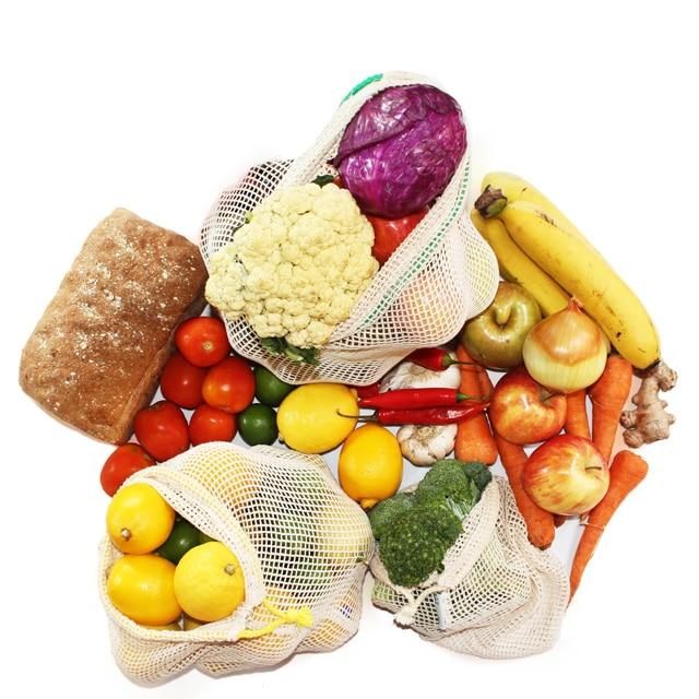 plastikfrei einkaufen ohne Verpackung Obst und Gemüsenetz Gemüsebeutel verpackungsfrei einkaufen Zero Waste Unverpackt Laden