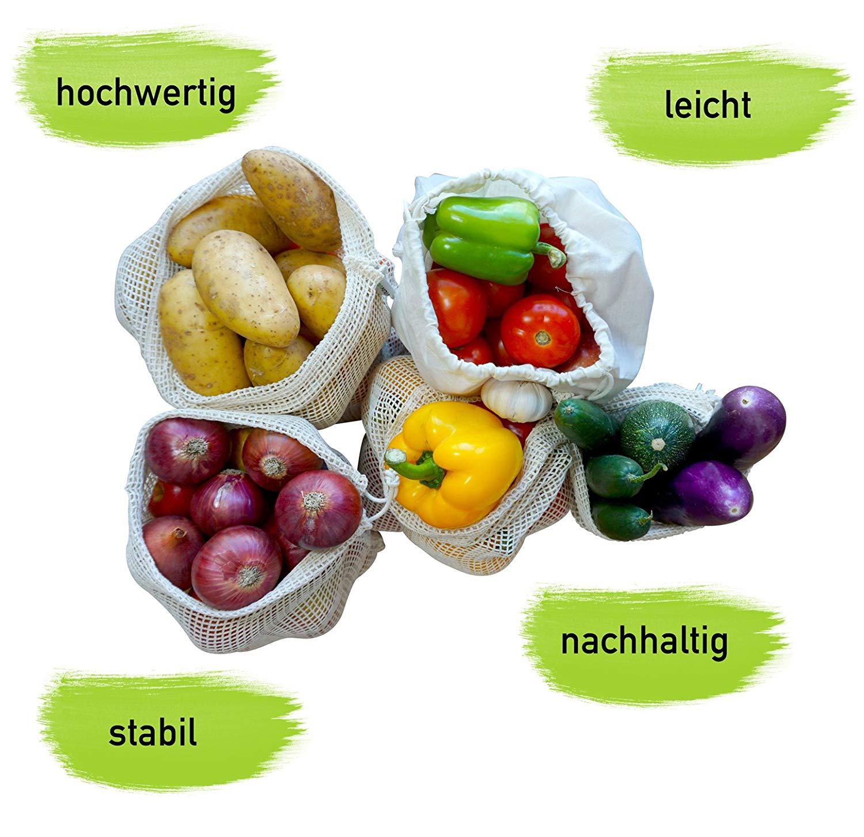 Gemüsenetz Gemüsebeutel Obstnetz EcoYou Baumwollnetz Plastikfrei Einkaufen ohne Plastik