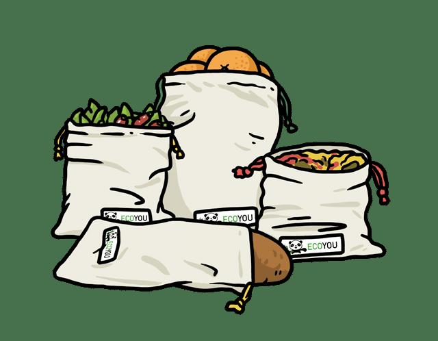 wiederverwendbare Gemüsebeutel Obstnetze EcoYou Baumwollbeutel Tragetasche unverpackt Blog Tipps Tricks Mikroplastik