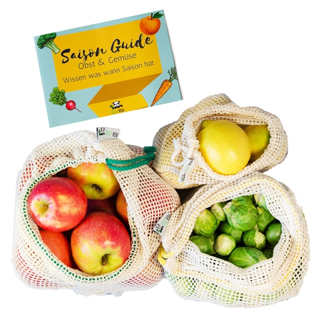 EcoYou Obst und Gemüsebeutel wiederverwendbare Netze aus Baumwolle Baumwollnetz Baumwollbeutel Brotbeutel plastikfrei einkaufen ohne Plastik