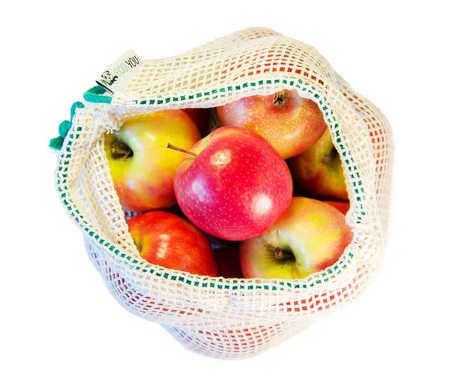 Unverpackt Einkaufen mit wiederverwendbaren Obstnetzen Gemüsebeutel Baumwolltasche plastikfrei Leben EcoYou kaufen nähen Tipps Nachhaltig