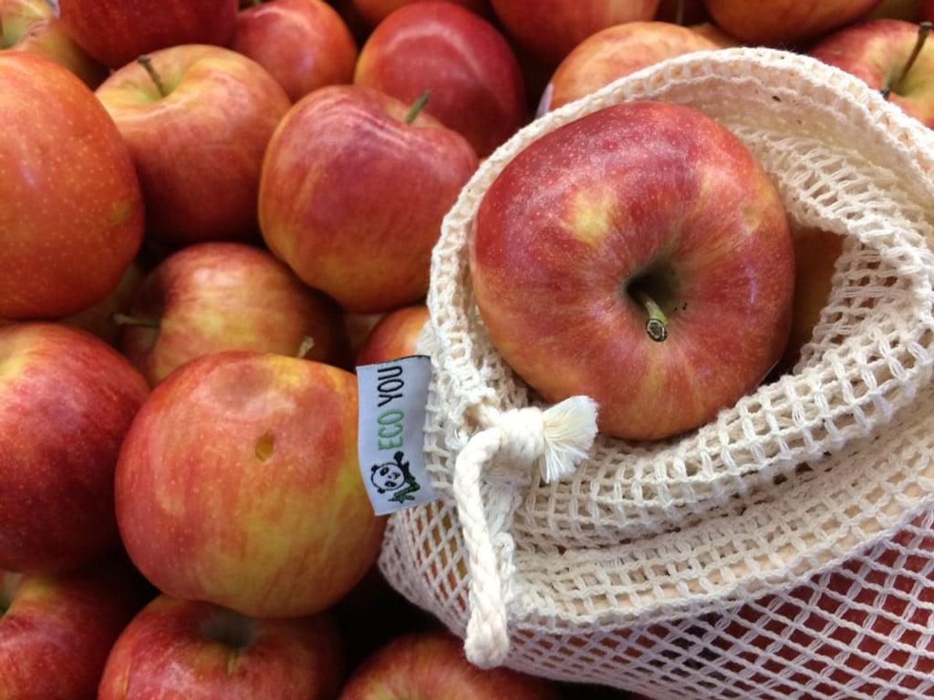 Nachhaltige Ernährung - plastikfrei Einkaufen Gemüsenetz und Obstnetz