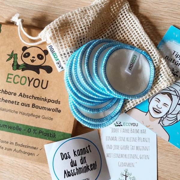 Abschminkpads Waschbar wiederverwendbar Zero Waste EcoYou Baumwollpads Bad Badezimmer Weihnachtsgeschenk Geschenk nachhaltiges Geschenk für Weihnachten Geburtstag Freundin Umwelt
