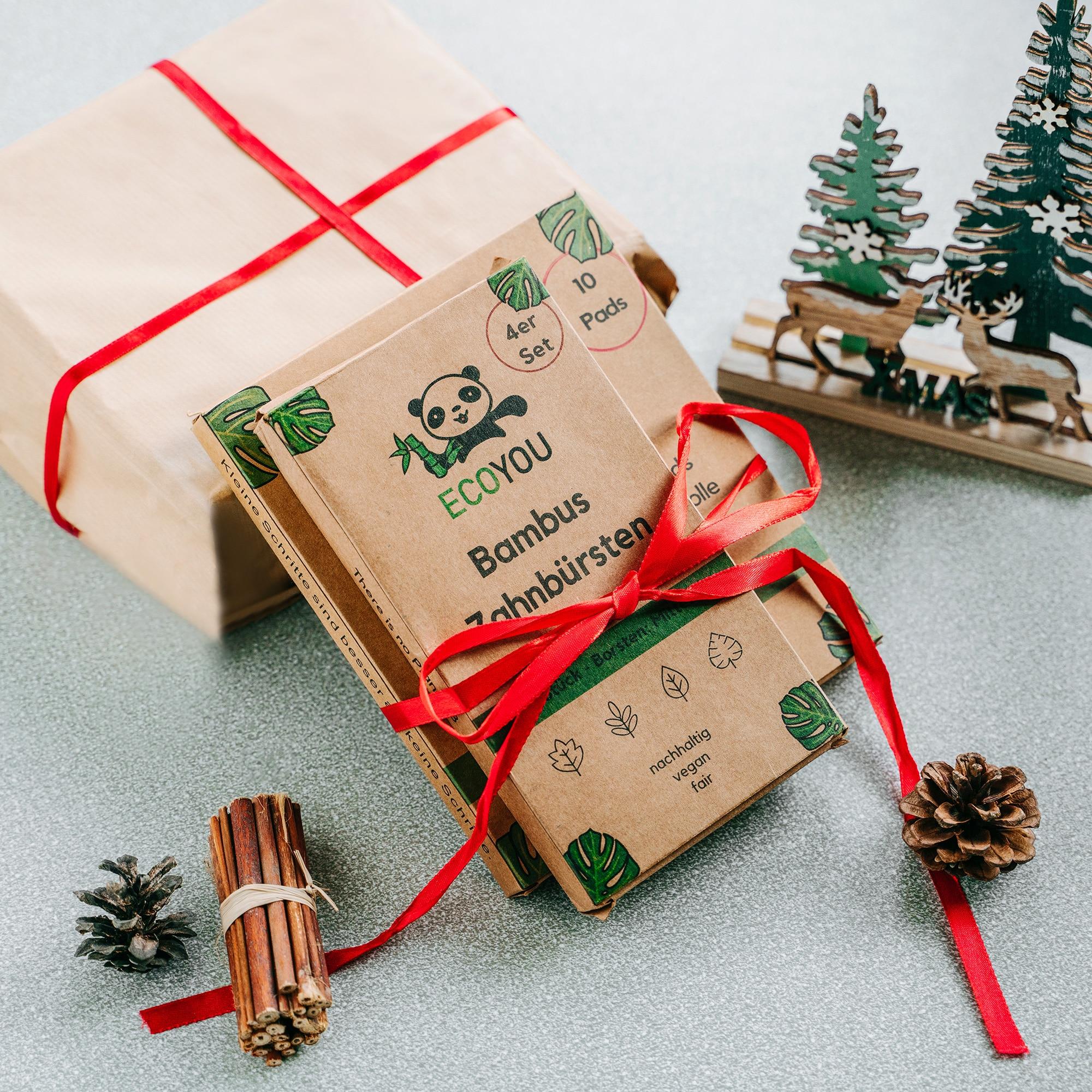 Nachhaltige Geschenke Verpacken Verpackung Geschenkverpackung DIY Natur Gemüsebeutel EcoYou plastikfrei einkaufen ohne Plastik Weihnachten 2020