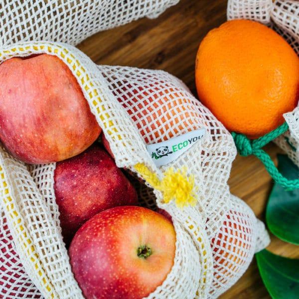 gemüsebeutel obstneutel äpfel im obstnetz einkaufsnetz plastikfrei einkaufen zero waste einkaufen unverpackt einkaufen