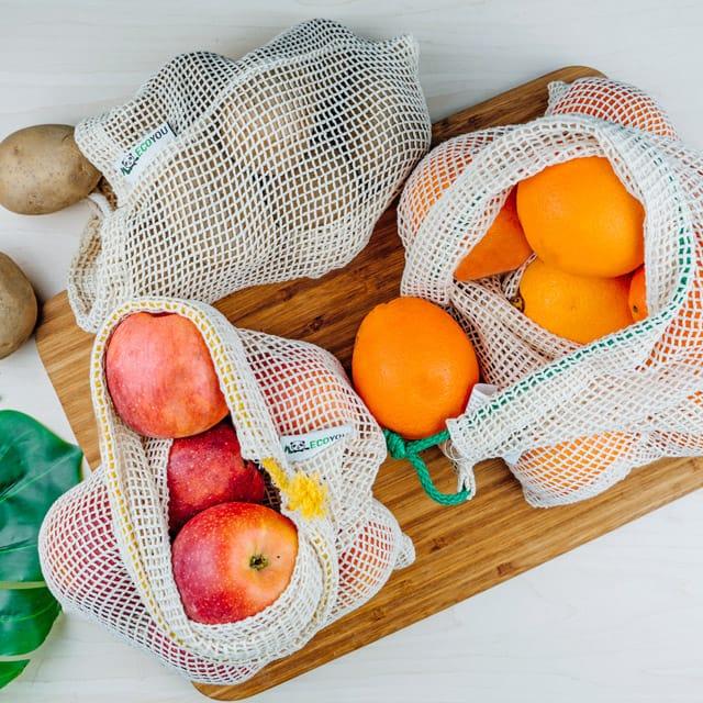 Gemüsenetz Obstnetz Baumwollnetz Obst Gemüse Plastikfrei Leben ohne Plastik Festival Zero Waste Sommer Southside Rock am Ring Camping
