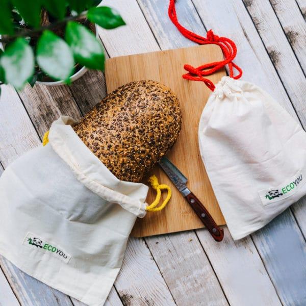 Plastikfrei Einkaufen mit Gemüsebeutel Brotbeutel ohne Plastiktüte Plastikfrei Leben ohne Plastik Tipps Blog Ideen EcoYou