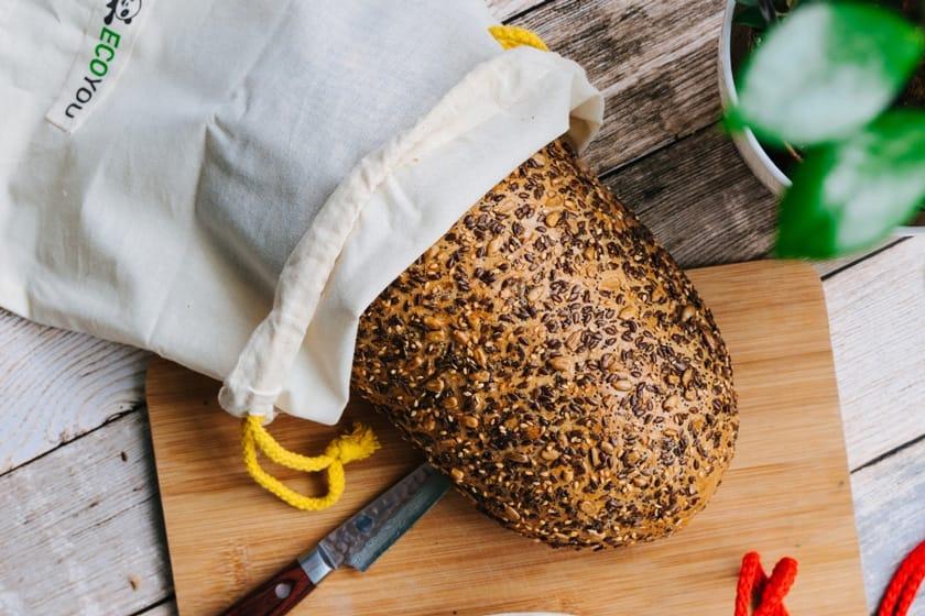 Brotbeutel aus Baumwolle von EcoYou - Brot in Brotnetz hält länger frisch