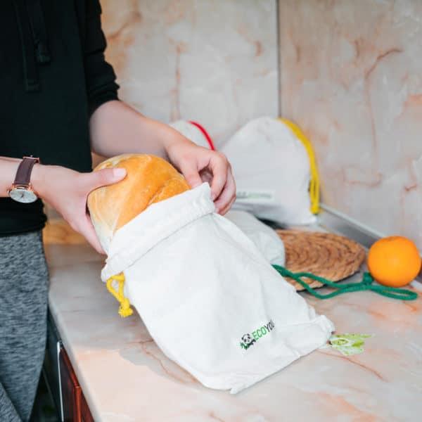 Brotbeutel aus Stoff unverpackt einkaufen ohne Plastik nachhaltig Einkaufen EcoYou Brotnetz
