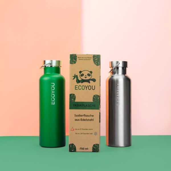 Nachhaltige Trinkflasche von EcoYou Grün Silber - Edelstahlflasche Isolierflasche