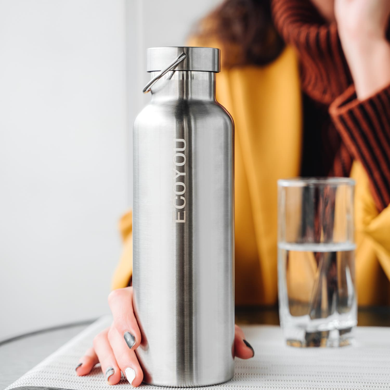 Wiederverwendbare Trinkflasche EcoYou Isolierflasche Silber Nachhaltige Grundausstattung Plastikfrei Leben ohne Plastik EcoYou Tipps Tricks Anfänger